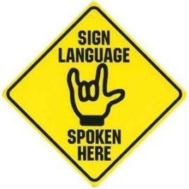 sign language yellow sign